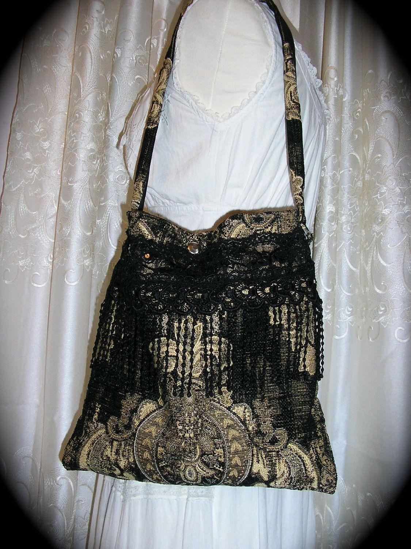 Tapestry Gypsy Bag black bohemian handmade carpet bag soft fabric tote. via Etsy.