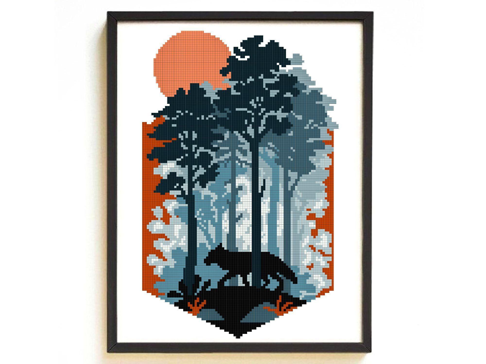 Nature landscape cross stitch pattern modern easy, geometric