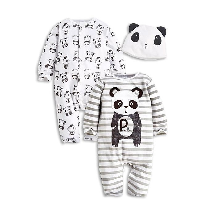 9bf029686e8d 3Pcs Set 0-24M Cute Animal Newborn Clothing Baby Rompers + Hat ...