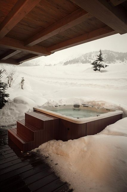 gotta have the hot tub in the snow p places to travel snow cabin winter cabin ski chalet. Black Bedroom Furniture Sets. Home Design Ideas