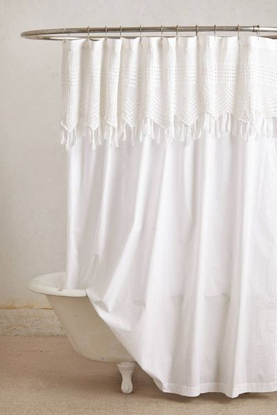 Beautiful White Bohemian Shower Curtain With Macrame Detailing Trending In Bathroom Decor Airy Curtains From Bliss By Rotator Rod