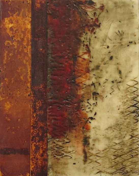 "Nancy Vorm | Elusive Facade | encaustic medium! rust paper on panel, 11""x14""x1-5/8"" /sm"