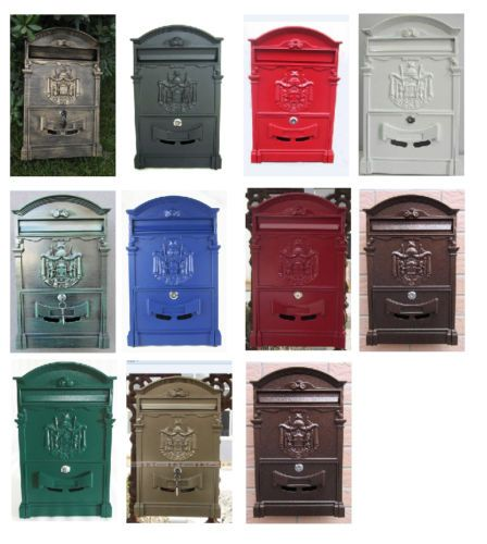 Vintage Style Metal Post Box Wall Mounted Letterbox Metal Postbox Mailbox NEW