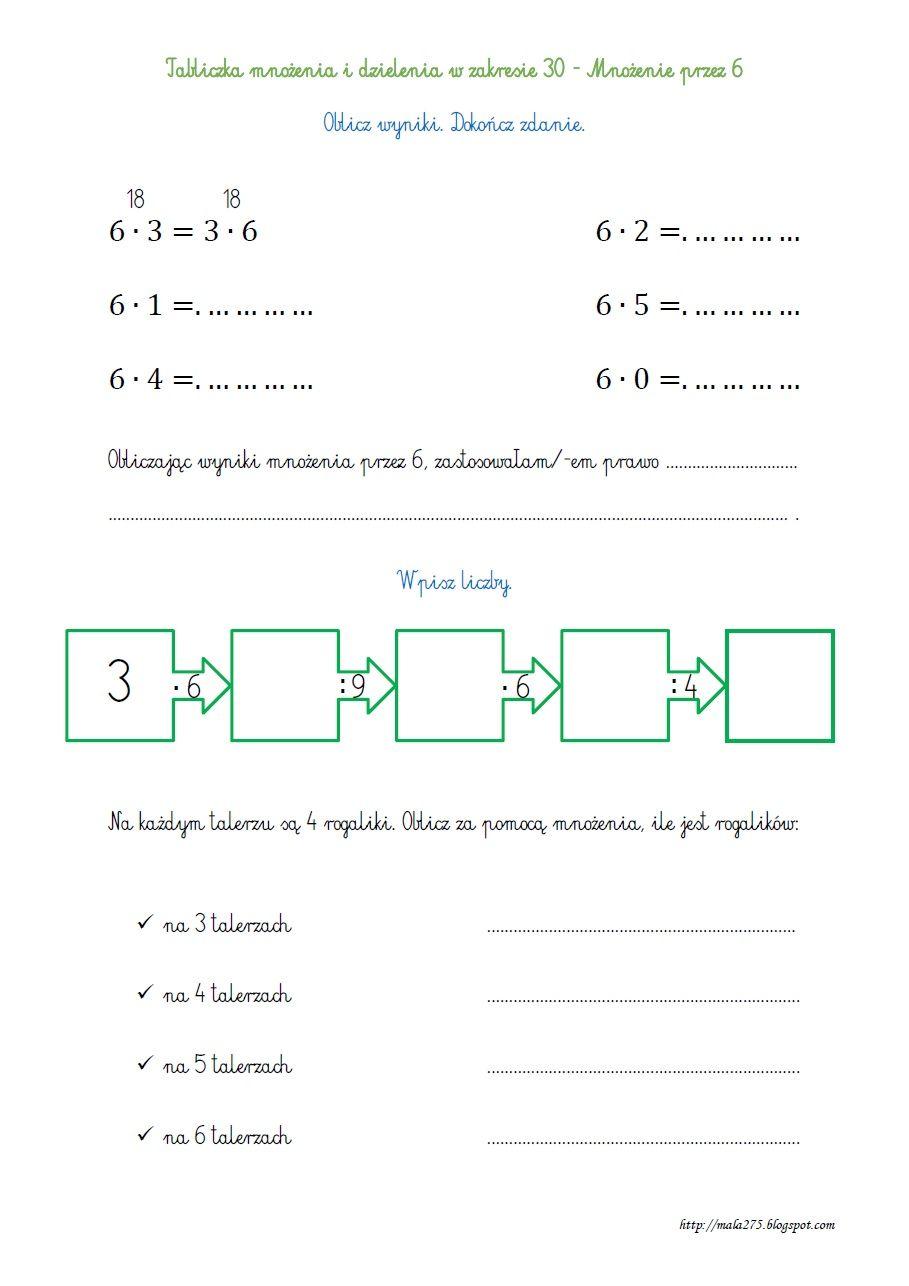 Blog Edukacyjny Dla Dzieci Tabliczka Mnozenia I Dzielenia W Zakresie 30 Mnozenie Przez 6 Przemiennosc Mn Kids Math Worksheets Math For Kids Math Worksheets