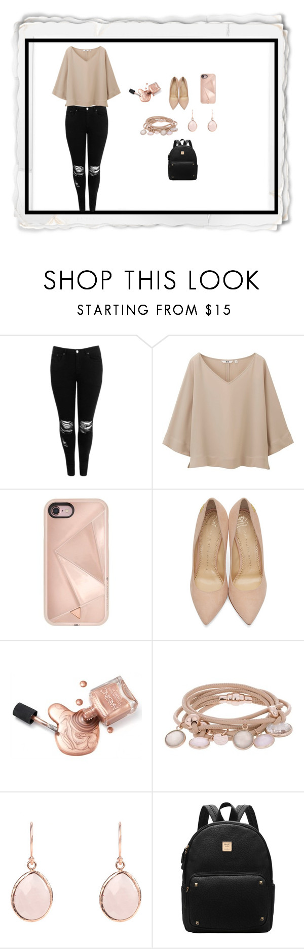 """""""Nude"""" by madinnmichelle ❤ liked on Polyvore featuring Boohoo, Uniqlo, Rebecca Minkoff, Charlotte Olympia and Marjana von Berlepsch"""