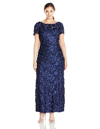 b80e3b52c460e Alex Evenings Womens PlusSize Long ALine Rosette Dress with Short Sleeves  and Sequin Detail Navy 14W     Click on the image for additional details.