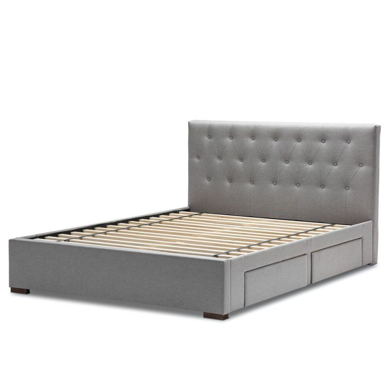 Kazo Queen Fabric 4 Drawer Storage Bed Frame Grey Bed Frame With