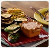 Grilled Veggies w/ Roasted Red Pepper Marinade & Dip - sounds very tasty!