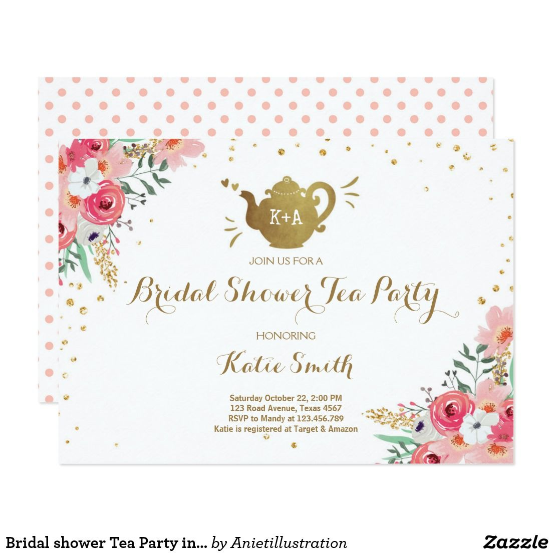 Bridal Shower Tea Party Invitation Floral Teapot  Bridal Shower