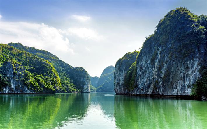 Download wallpapers Vietnam, mountains, sea, bay, tropics