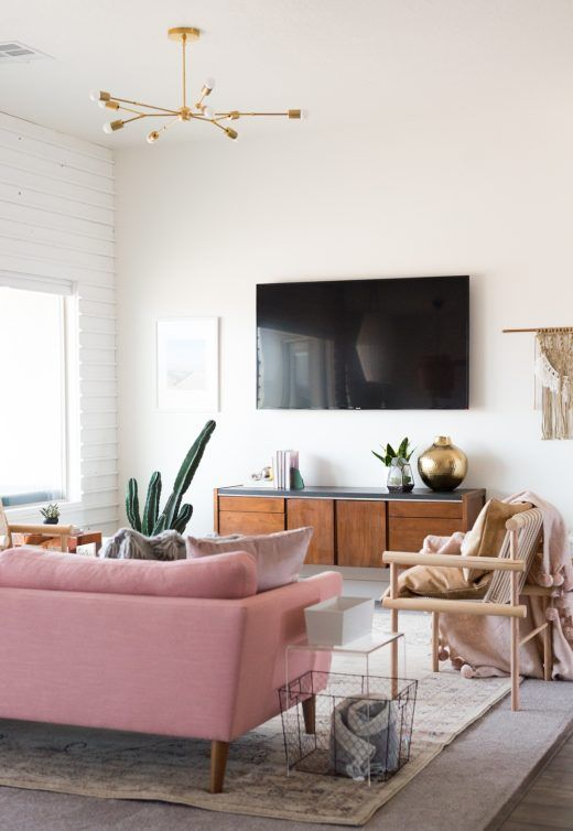 Living Room With Pink Couch And Natural Light Bright White Living Room Living Room Design Inspiration Minimalist Living Room Living Room Designs