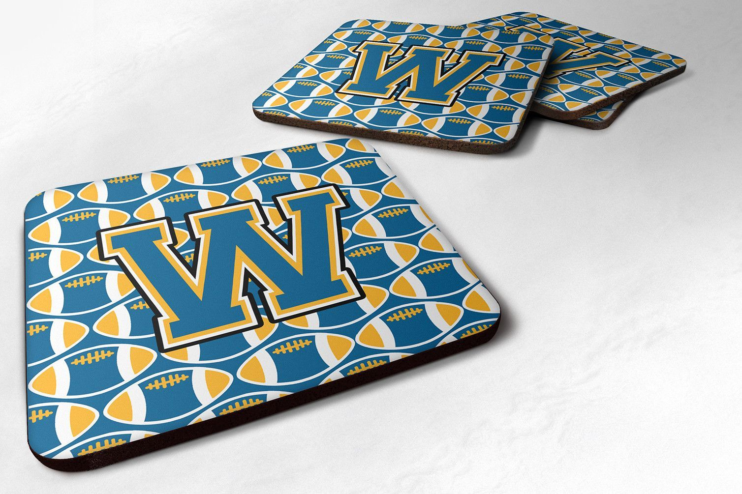 Letter W Football Blue and Gold Foam Coaster Set of 4 CJ1077-WFC