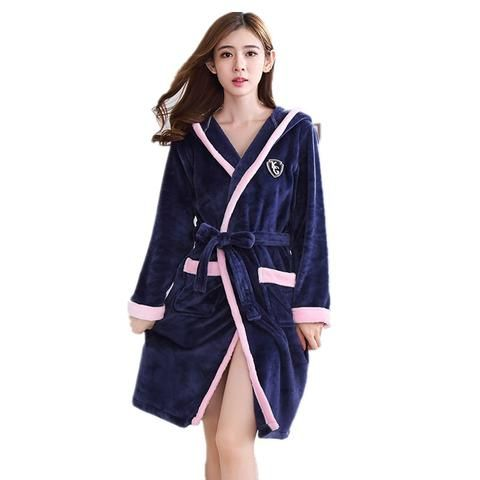 4a2e53da51 New Women Coral Fleece Sleepwear Sexy Kgurumi Winter Floral Autumn Warm  Bathrobe Nightgown Kimono Dressing Gown