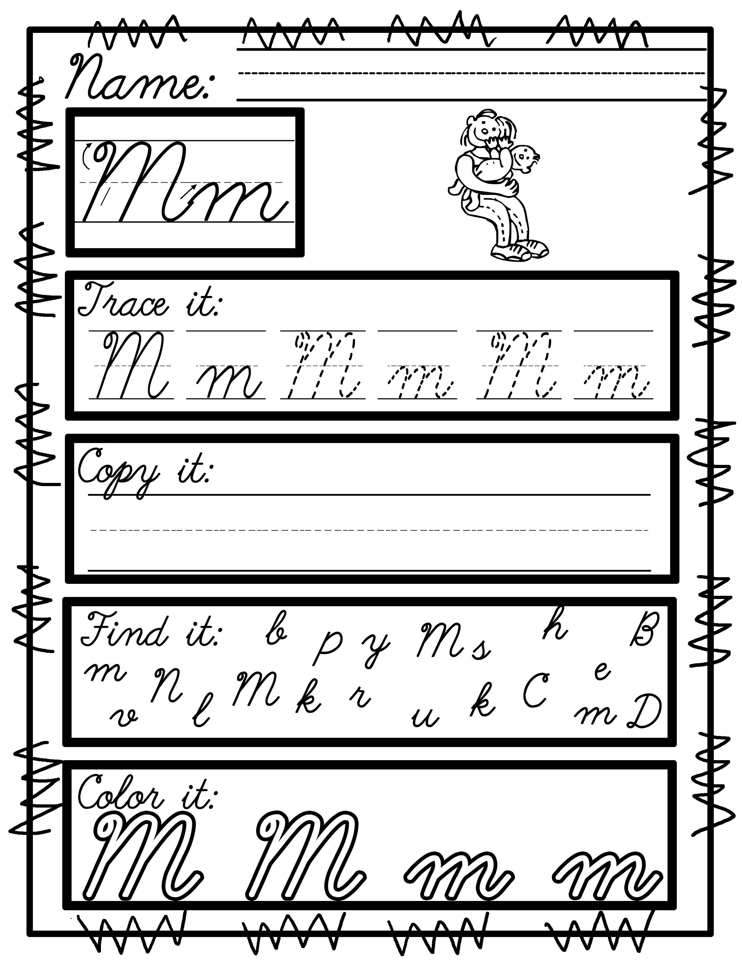 Worksheets For Cursive Handwriting Practice