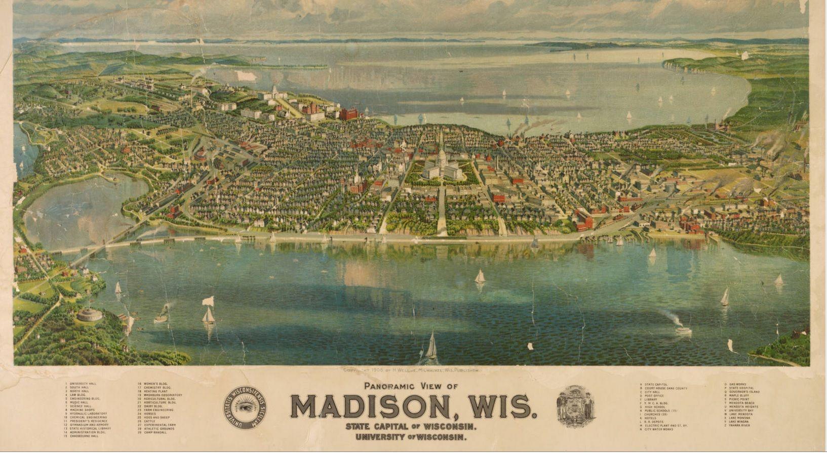 Birds eye view of Madison Wisconsin 1908