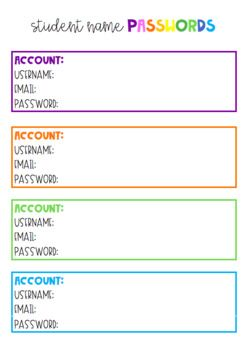 Student Password Document Student Passwords Gifted Education