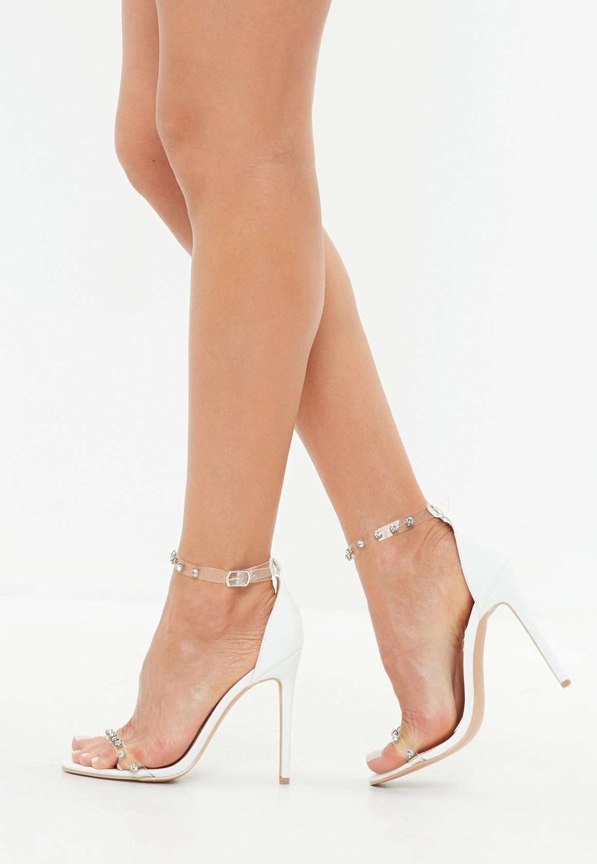 a50b511861c0f Missguided - White Clear Embellished Barely There Sandals