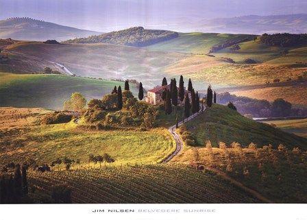 Belvedere Sunrise Tuscany landscape art at Landscapes.com