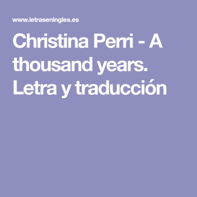 descargar musica de christina perri a thousand years en ingles