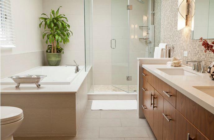 Petite salle de bain familiale de 7 m2 en noir et blanc Côté Maison
