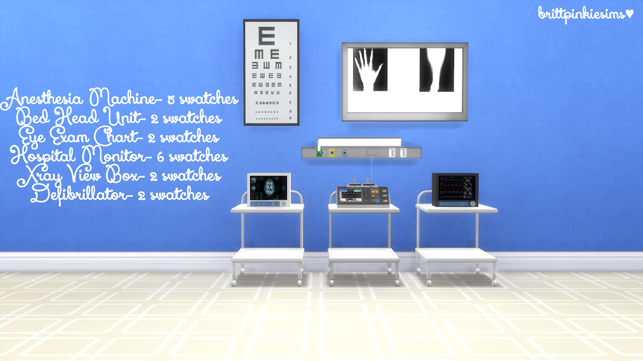 """a363a534038d1 brittpinkiesims: """" The Sims 4: Hospital Set Hey guys! Today I have another  anon request for you- a conversion of Hekate999's Hospital Set for The Sims  3 ..."""