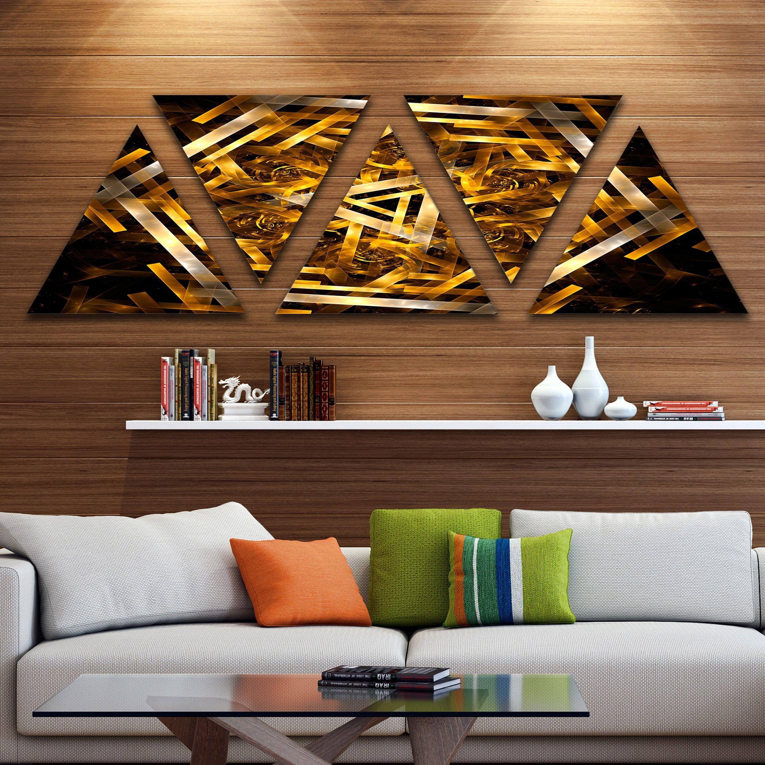 Designart ufractal d yellowish hexagonu contemporary canvas art