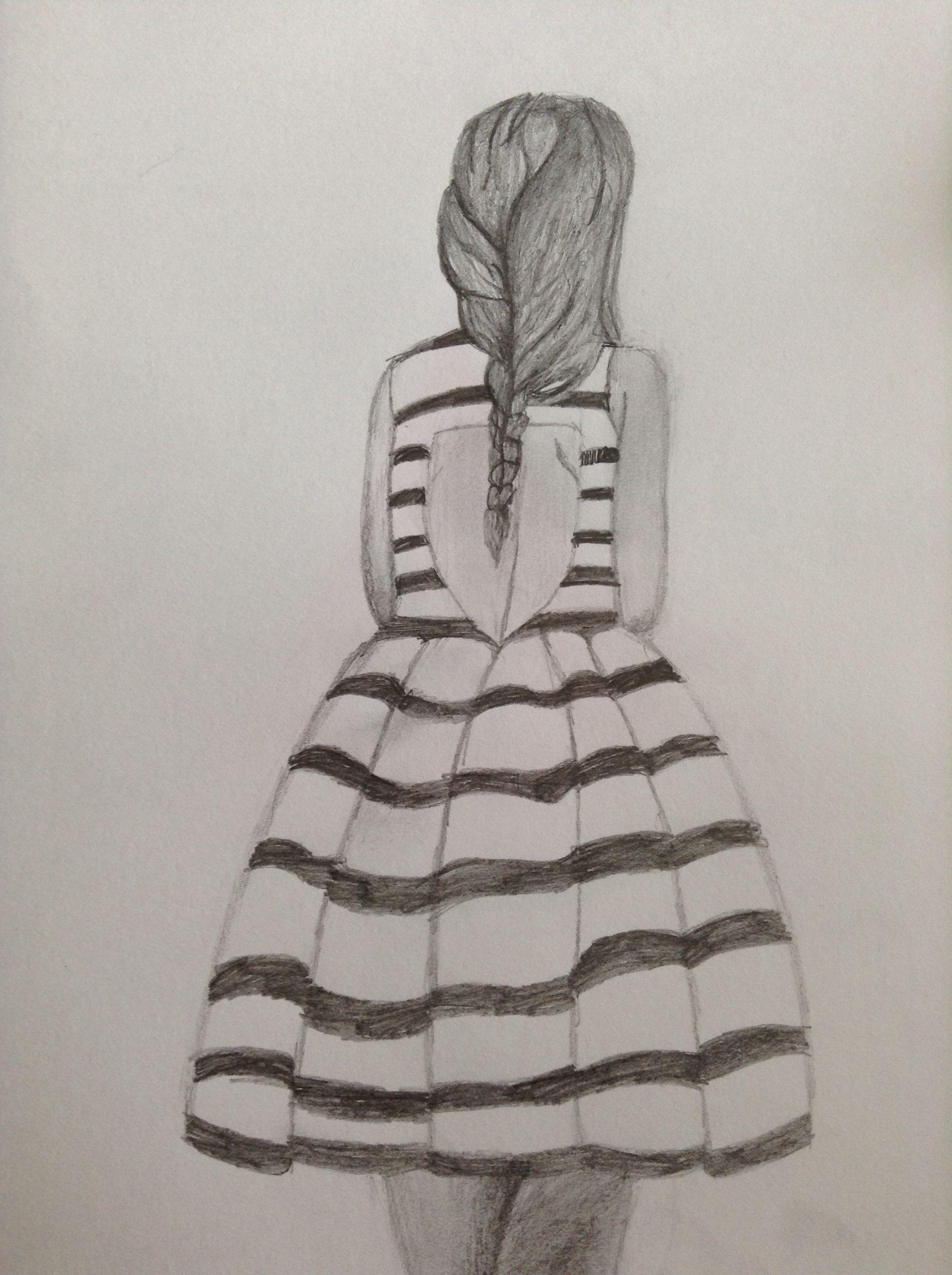 0aa80e8c1 Girl in striped dress I drew
