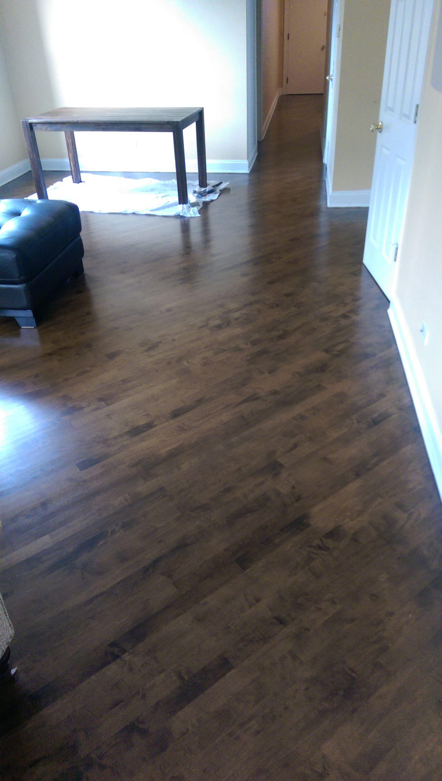 Antique Brown Stain Satin Polyurethane Maple Wood Flooring