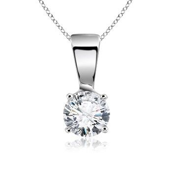 Angara Solitaire Diamond Necklace in White Gold Aju1XEx