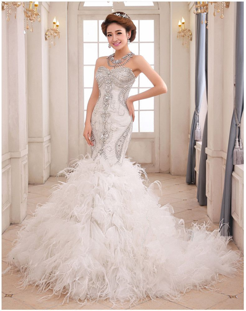 Feathers and Crystals Wedding Dress