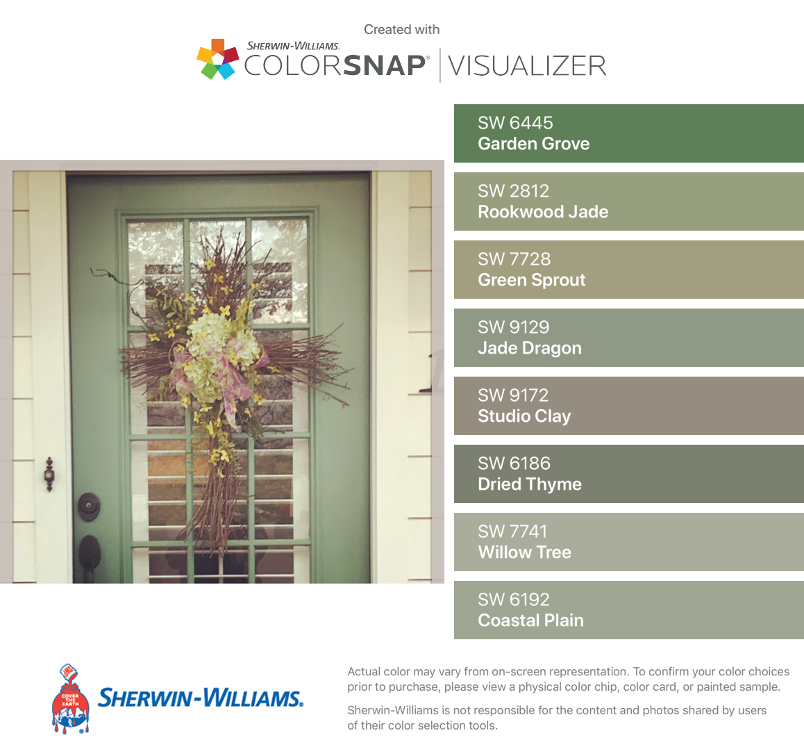 I Found These Colors With Colorsnap Visualizer For Iphone By Sherwin Williams Garden Grove Exterior House Color Exterior House Colors Sherwin Williams Green