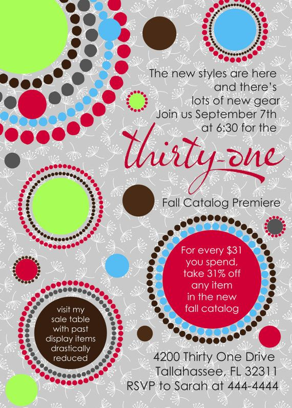 Perfect For Your Next Thirty One Party Customized Invitations
