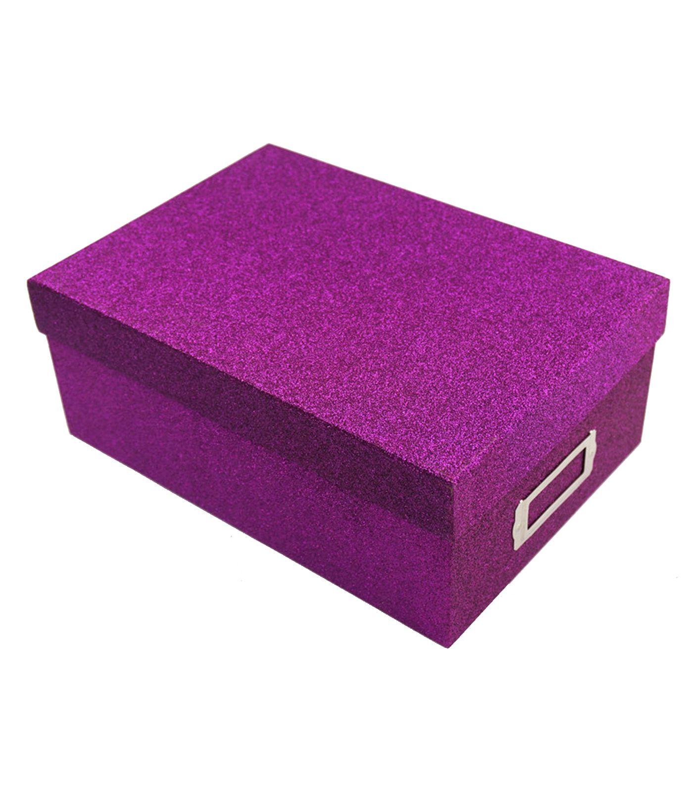 Ordinaire CRAFT BOX $4.19 Purple Glitter Photo Storage Box