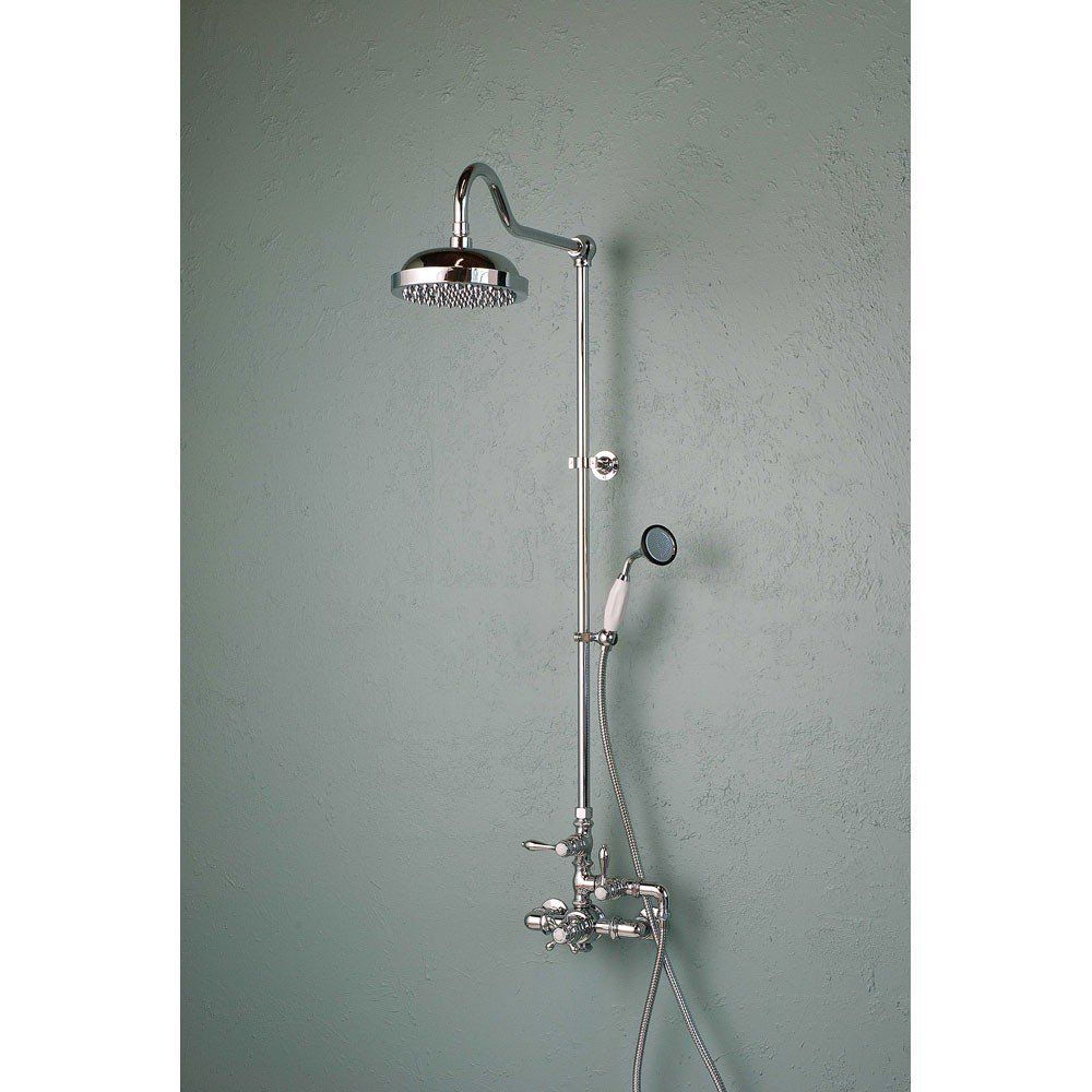 Exposed Wall Mount Thermostatic Shower Faucet With Handshower With Images Shower Systems Tub And Shower Faucets Shower Faucet