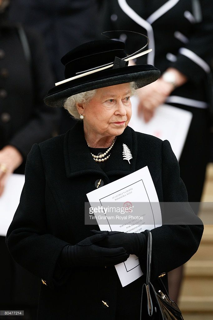 Queen Elizabeth II attends a Thanksgiving service for Sir Edmund Hillary at St George's Chapel on April 2, 2008 in Windsor, England.