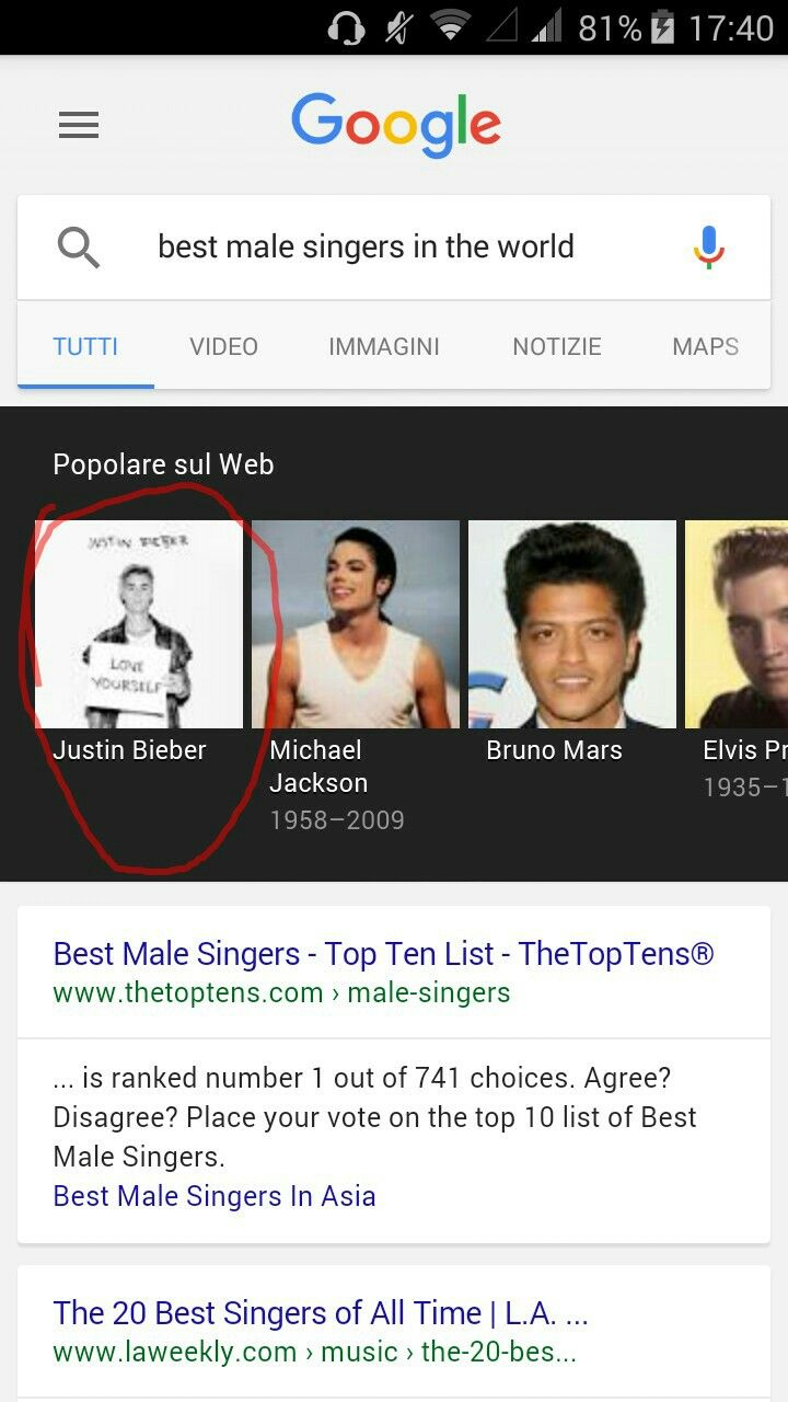 Wow ,my idol il the best singer male in the world!
