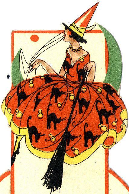 Elegant Deco Flapper on Half Moon--Vintage Halloween Place Card