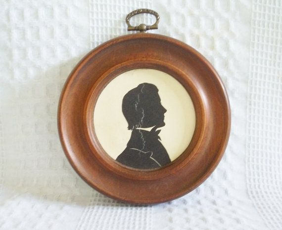 vintage round wood framed silhouette black white profile