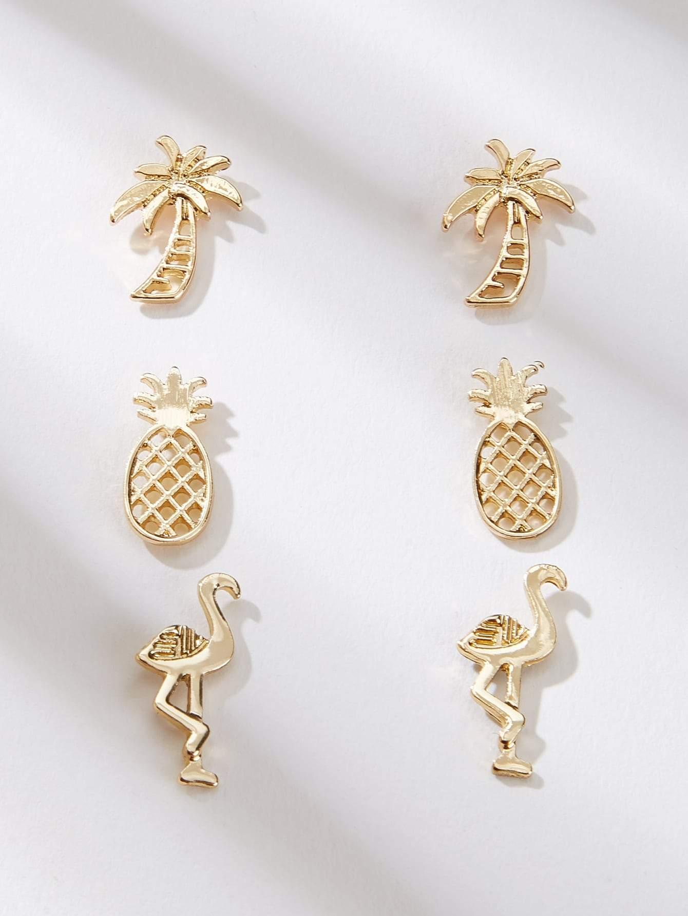 Pineapple Aretes Pendientes Oro O Plata Stud Earring