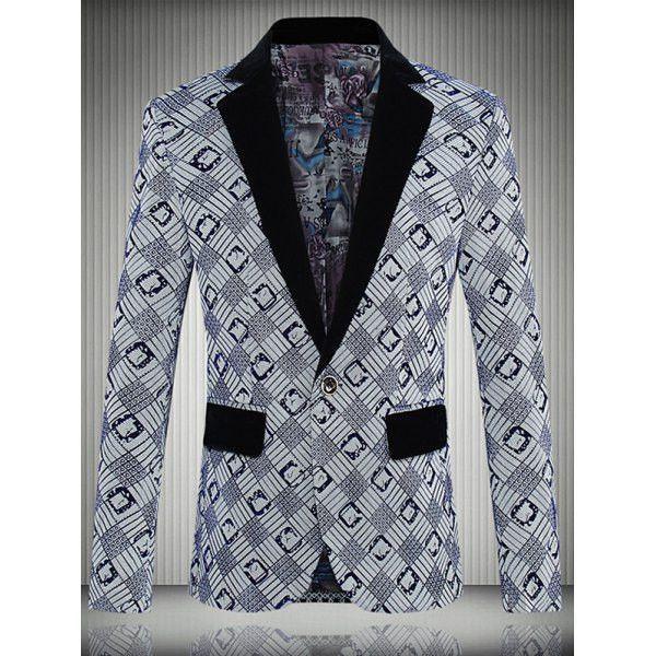 Geometric Printed One-Button Lapel Long Sleeve Blazer For Men