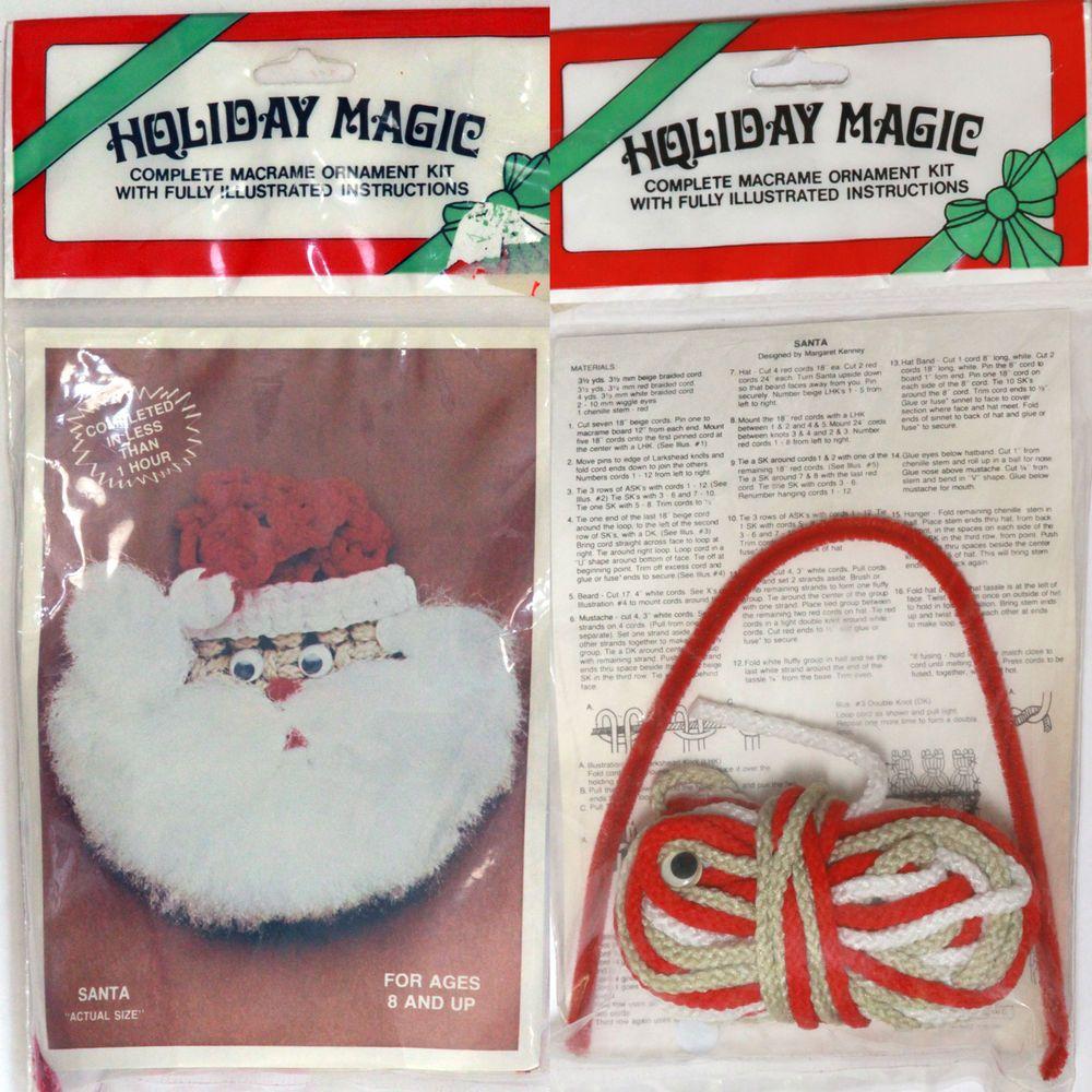 vintage macrame kit easy santa claus head ornament age 8 u0026 up