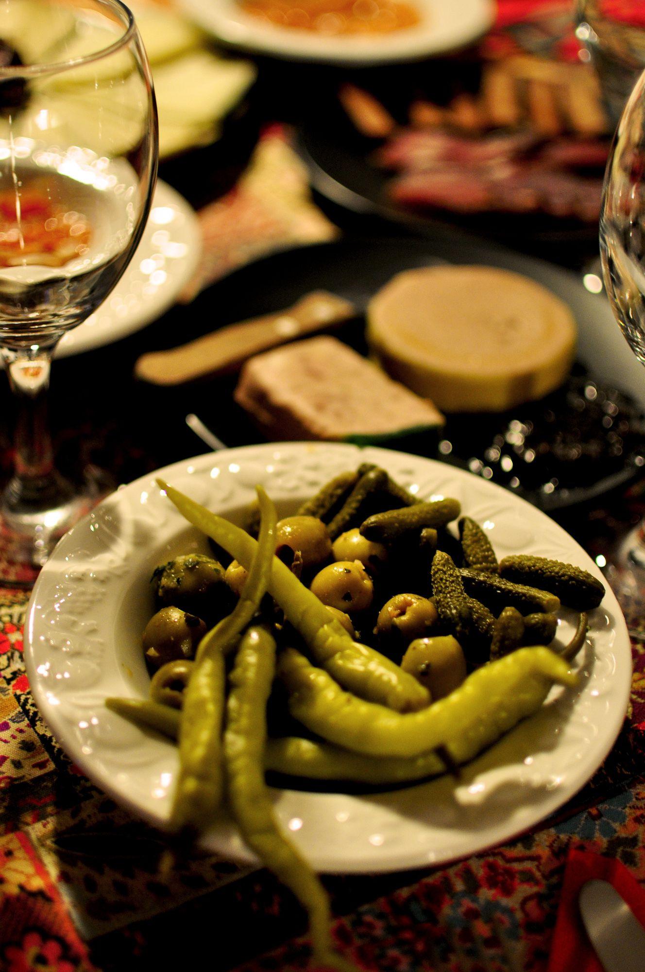 "Olives, cornichons and ""guindillas"""