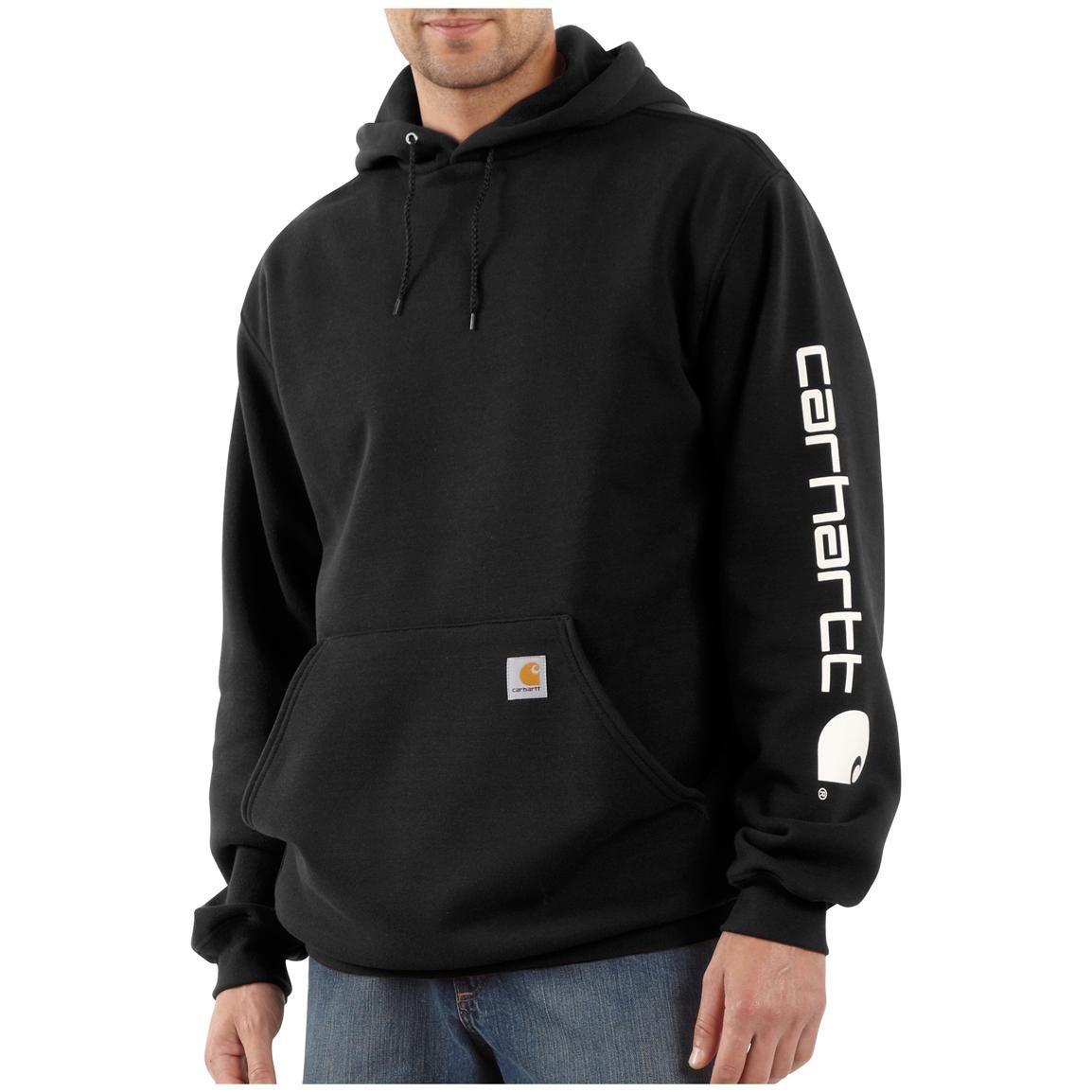 Carhartt Hoodie With Sleeve Logo Cold Weather Comfort On And Off The Clock Carhartt Hoodie Carhartt Sweatshirts Sweatshirts [ 1154 x 1154 Pixel ]