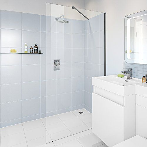 IBathUK 700mm Wet Room Glass Walk In 8mm Shower Screen Panel Enclosure    All Sizes No