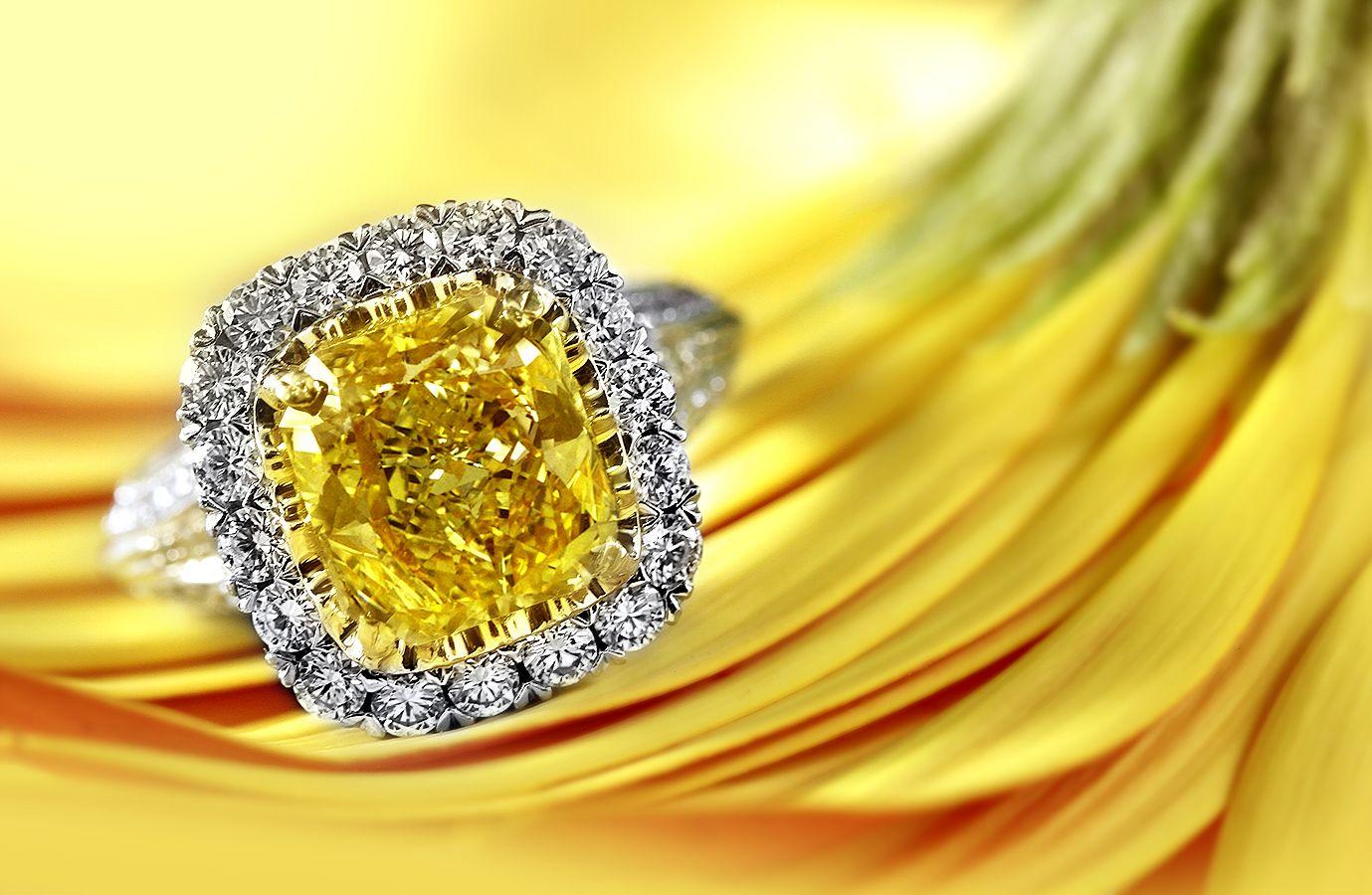 #fancy #yellow #cushion halo diamond #ring #engagement #wedding