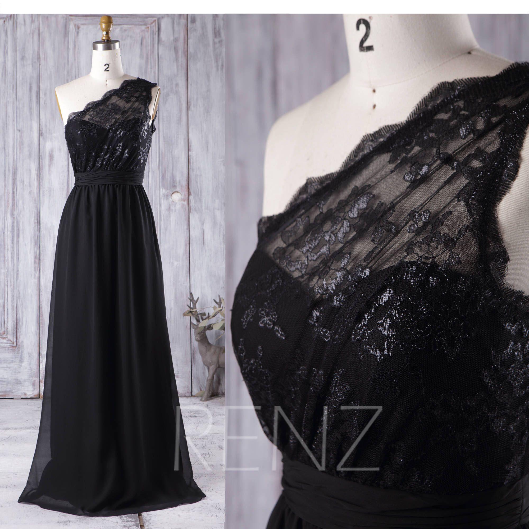 Black Chiffon Bridesmaid Dress One Shoulder Wedding Dress Etsy Trendy Dresses Formal Formal Dresses For Women Black Chiffon Bridesmaid Dresses