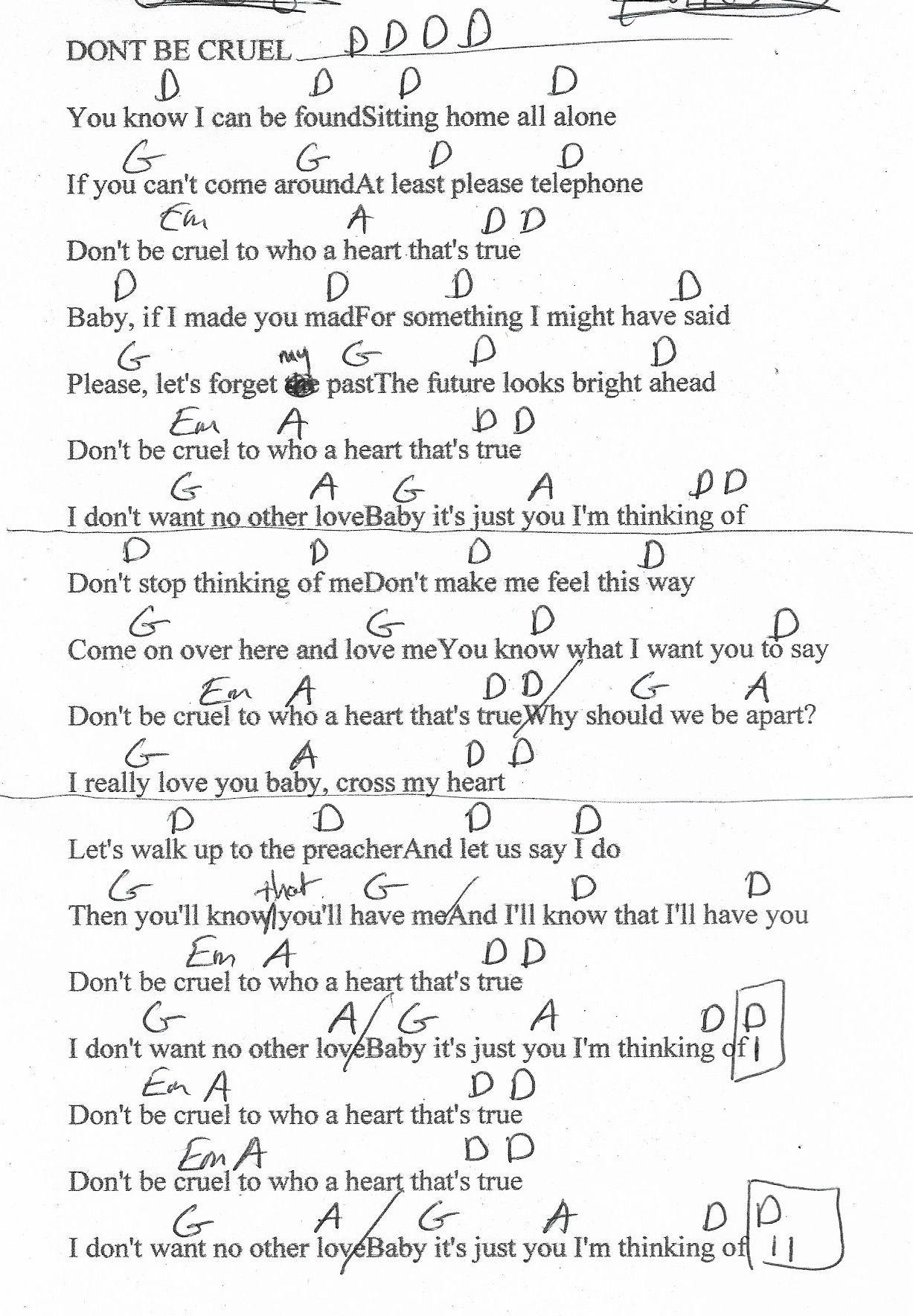 Don T Be Cruel Elvis Guitar Chord Chart In D Real Key Elvis