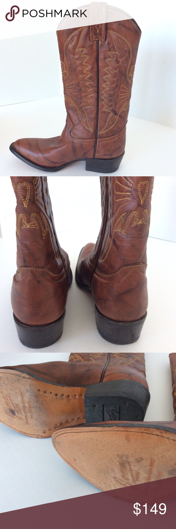 """JOMA🔹HANDCRAFTED COWBOY BOOTS👢AUTHENTIC JOMA western boots. Excellent used condition. Handcrafted in Mexico. Sole reads """"all leather"""", & inside reads: """"23 1/2 E, E, 1121, H12.""""  I am assuming the 23 1/2 is cm. I was not sure of the Mexican sizing. I determined they are 23.5 cm, which would be a women's size 6.5, or a youth boy's size 5.5, equivalent to a Euro 36.5 - 37. From the floor, are 14"""" tall. The measurement around the calf, at the boot's widest, is 12.5"""". The sole is 10 1/8"""" from…"""