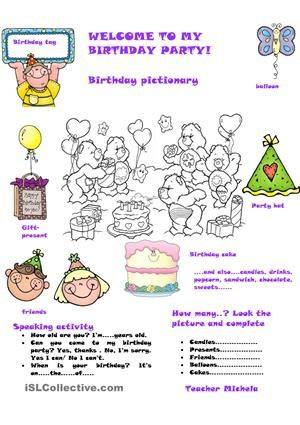 A funny birthday party pictionary with speaking activity for levels a funny birthday party pictionary with speaking activity for levels i hope it can be useful esl worksheets freerunsca