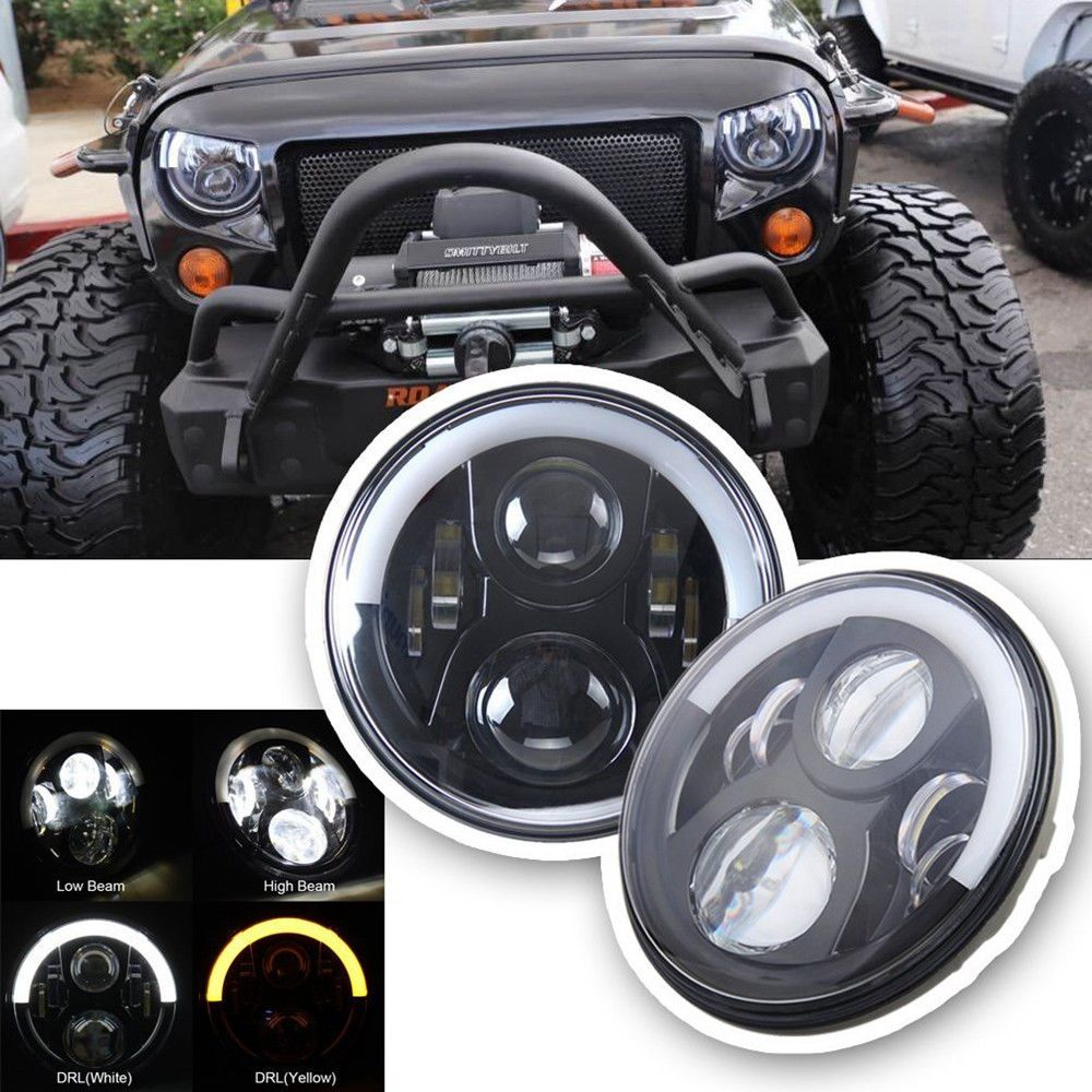 7 Inch Round Led Headlights Bulb Halo Ring For Jeep